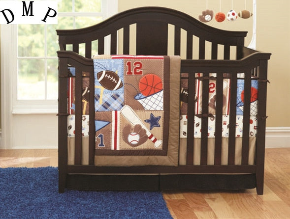 Promotion! 7PCS Baby Cot Bedding Set Newborn Cartoon Sports Crib Bedding (bumper+duvet+bed cover+bed skirt)