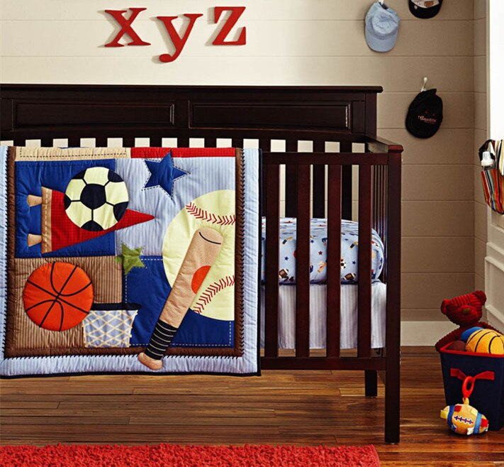 Promotion! 6PCS embroidery Crib Bedding Set For Boys And Girls Unisex Crib Bed Set Newborn ,include(bumper+duvet+bed cover)