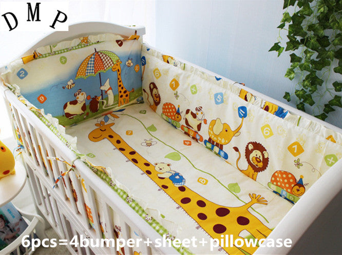 Promotion! 6PCS newborn baby girl bedding crib sets cheap baby cribs sets printed cartoon ,include:(bumper+sheet+pillow cover)