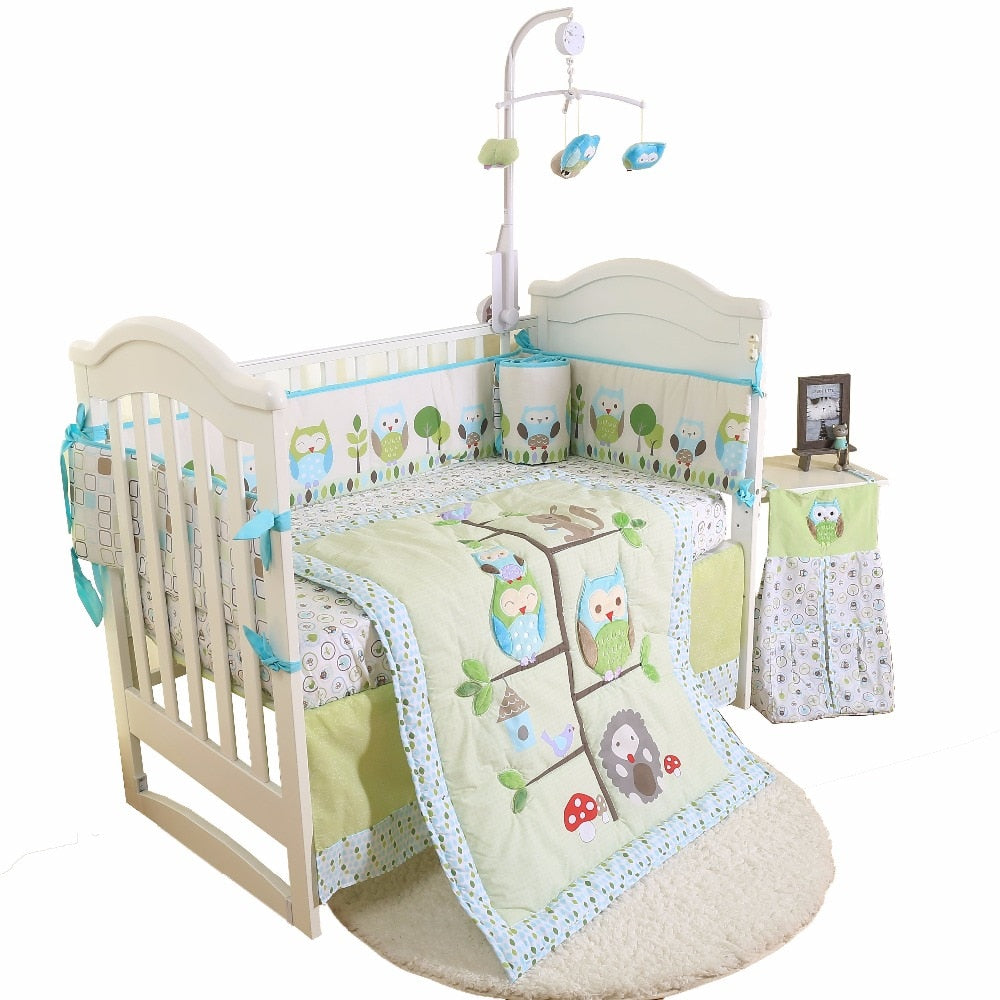 4Pcs Cotton Baby Cot Bedding Set Newborn Cartoon Baby Crib Bedding Set Detachable Cot Bed