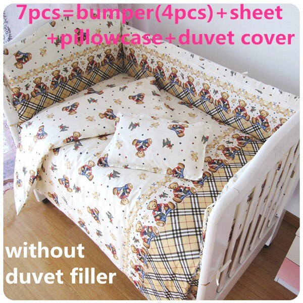 Discount! 6/7pcs Baby Cot Bedding Set for Girls Boys Cartoon Newborn Baby Bed Linen Cot Quilt Cover ,120*60/120*70cm