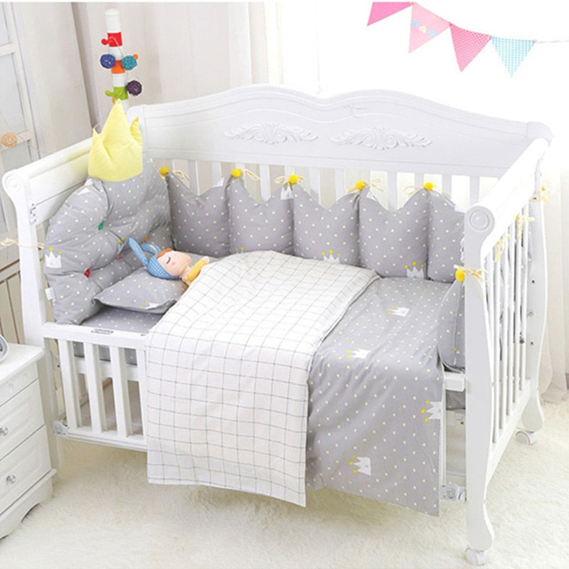 Newly 3D Crown Shape Baby Bedding Set 5pcs 18 Colors Newborn Crib Bedding Set Soft Cotton Baby Items Bumpers Bed Sheet For Bed