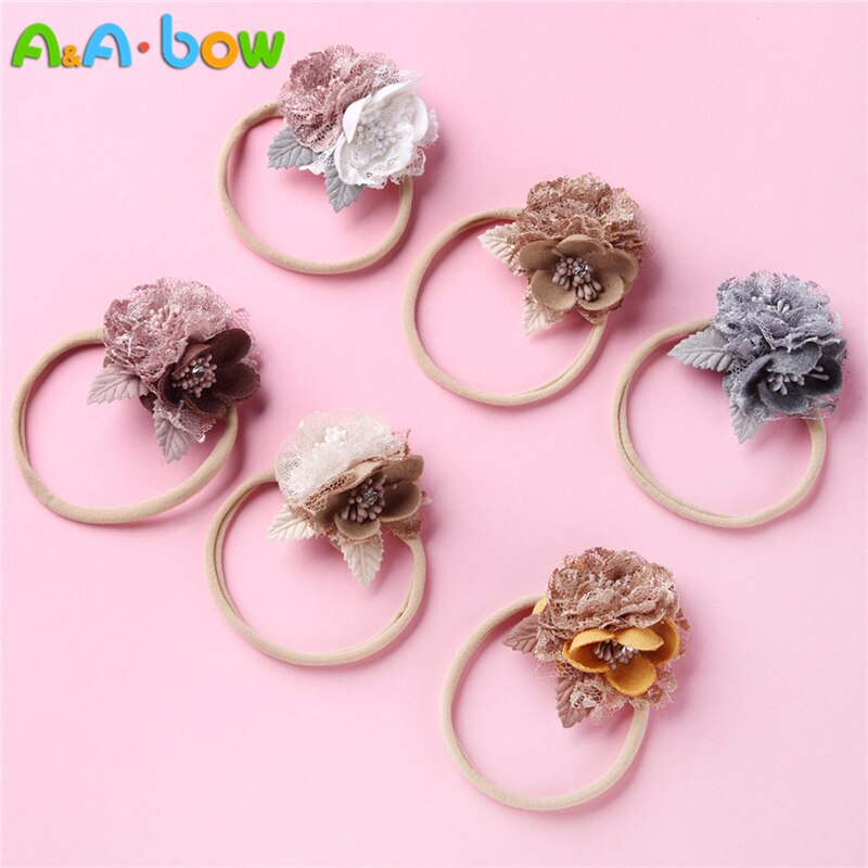 6pcs Boutique Artificial Flower Headbands Beauty Lace Floral Nylon Hairband For Newborn Kids Safe Headwear Gift Hair Accessories