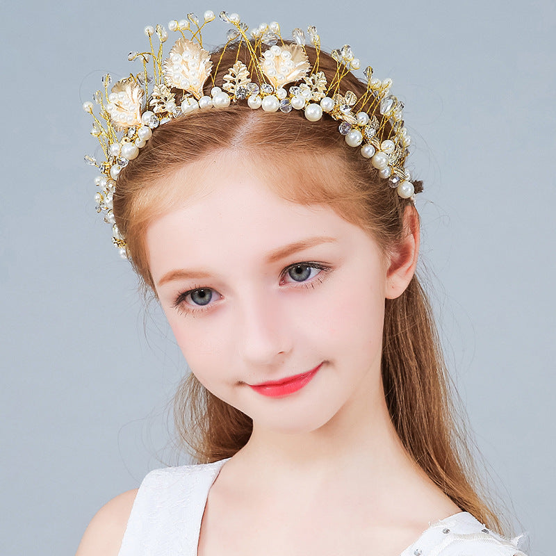 Kids Korean Style Flower Headwear Crown Performance Hair Clip Girls Princess Wedding Flower Girl Accessories Birthday Pearl