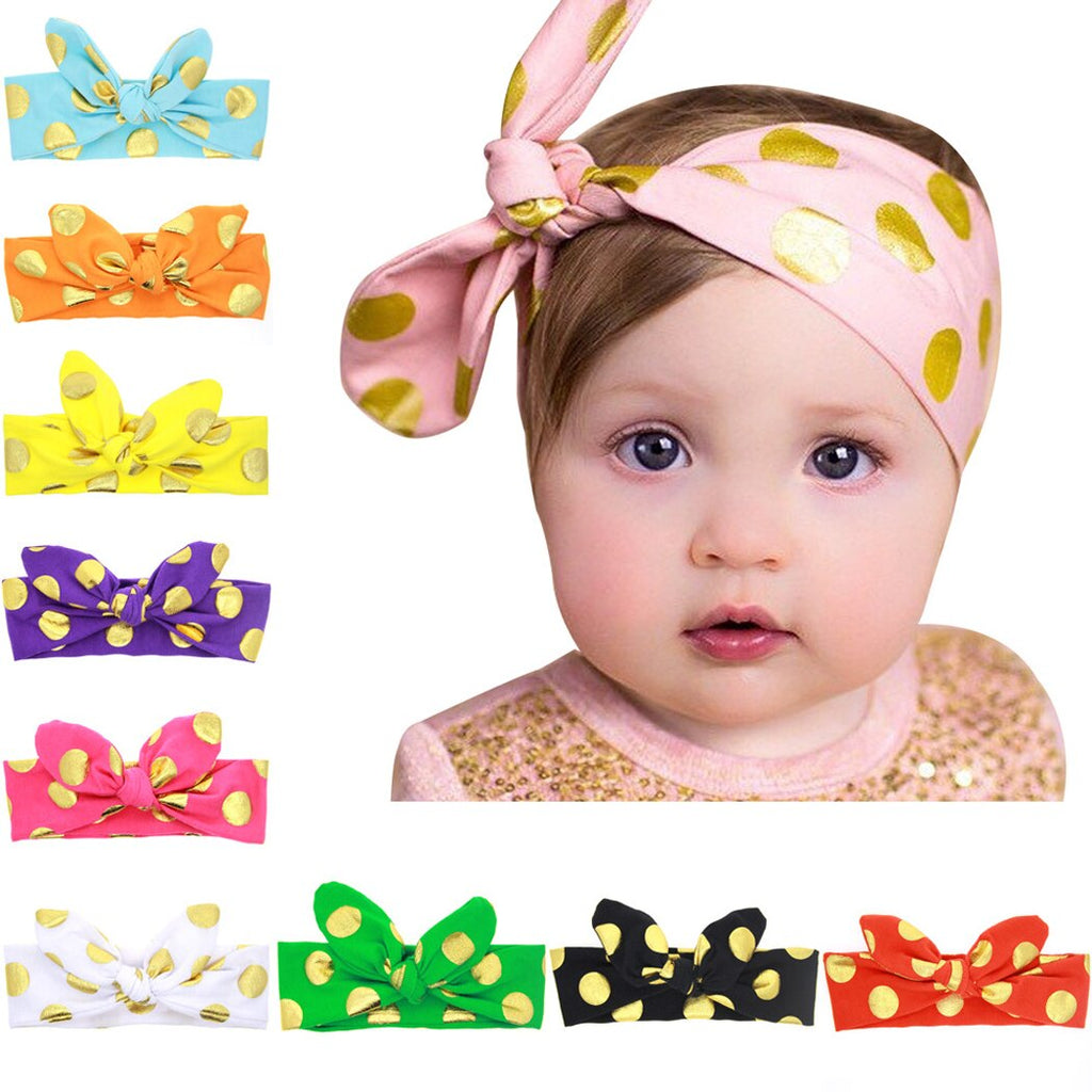Baby Girls Rabbit Ears Dots Hair Bows Paillette Clips Fashion Headbands For Teens Women Girls Kids Pack Of 10 (Colorful)