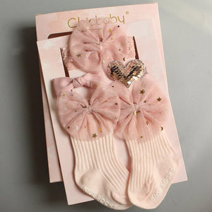 Korean Bow Hair Band Sock Children'S Day Birthday Gift  Children'S Socks Stars Bow Crown Hair Accessory Dress Up Supplies