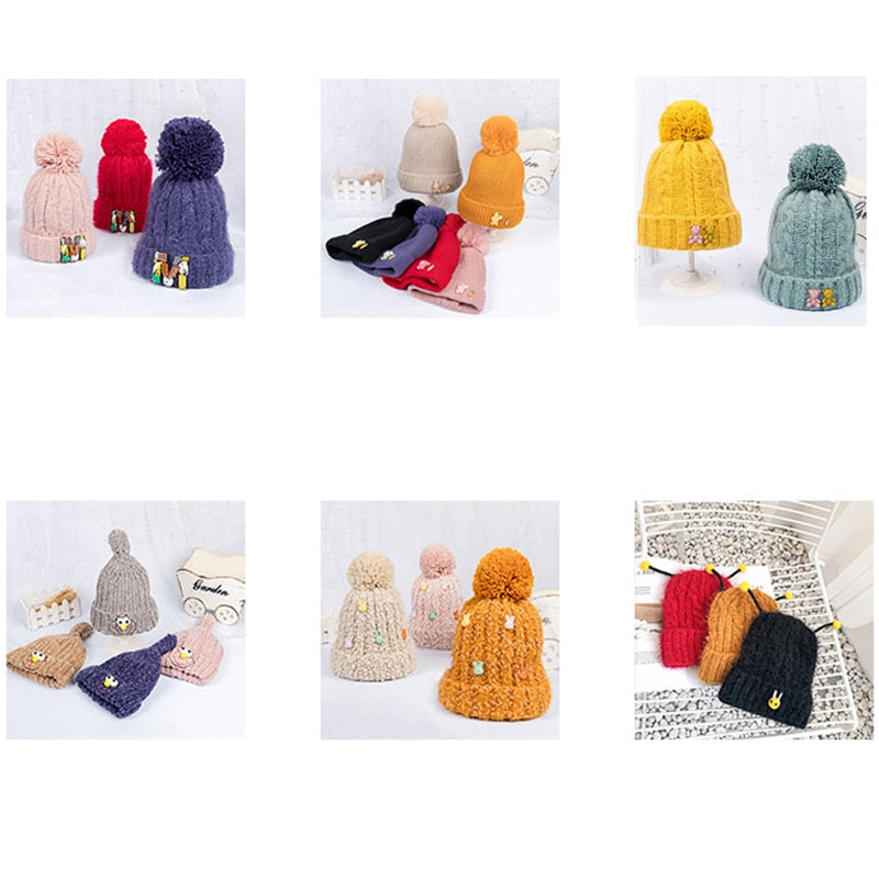 Cute Pompon Crochet Baby Winter Hat For Kids Double Side  Colorful Knitted Warm Winter Hats Beanies Baby Caps Hair Accessories