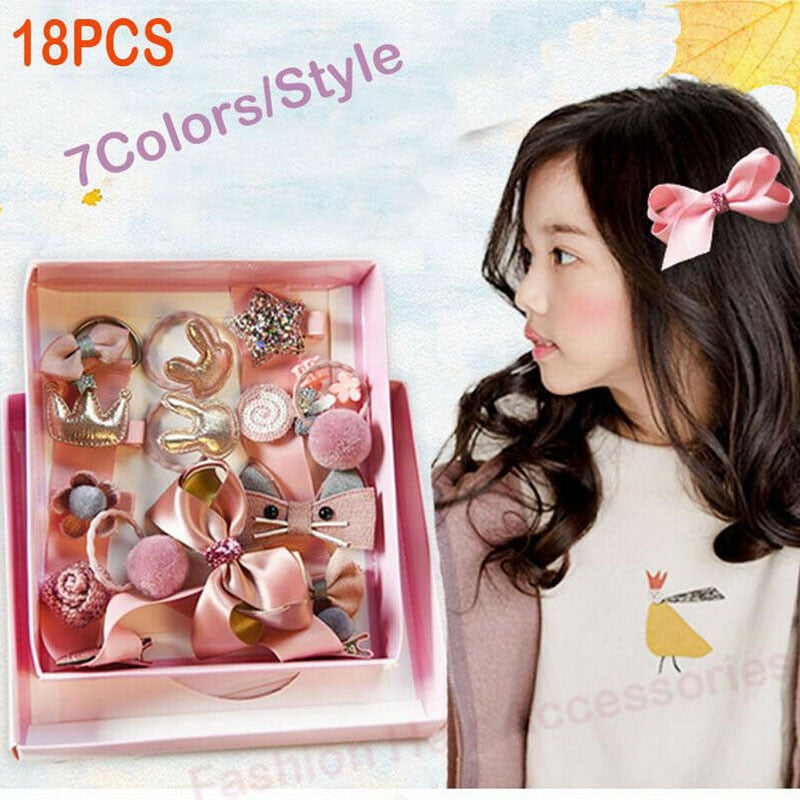 18PCS Baby Girls Grosgrain Hair Clips Hair Rope Infant Kids Accessories Set Headwear Cute Lovely Princess Birthday Gifts New