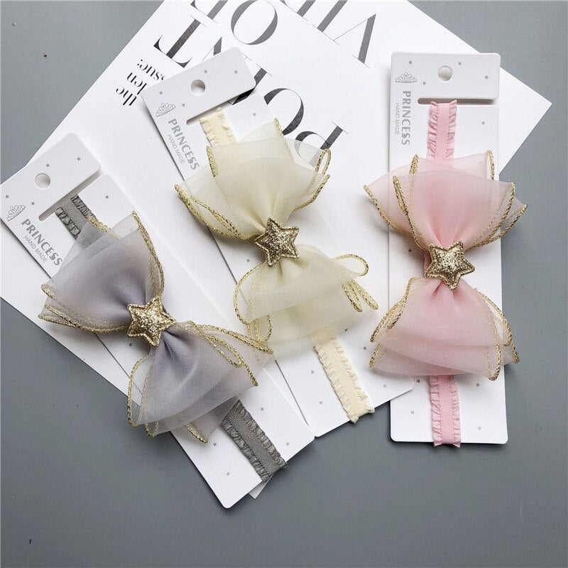 Baby Girls Kids Star Headband Bow Lace Headband Flower Headwear Lace Elastic Princess Hair Accessories