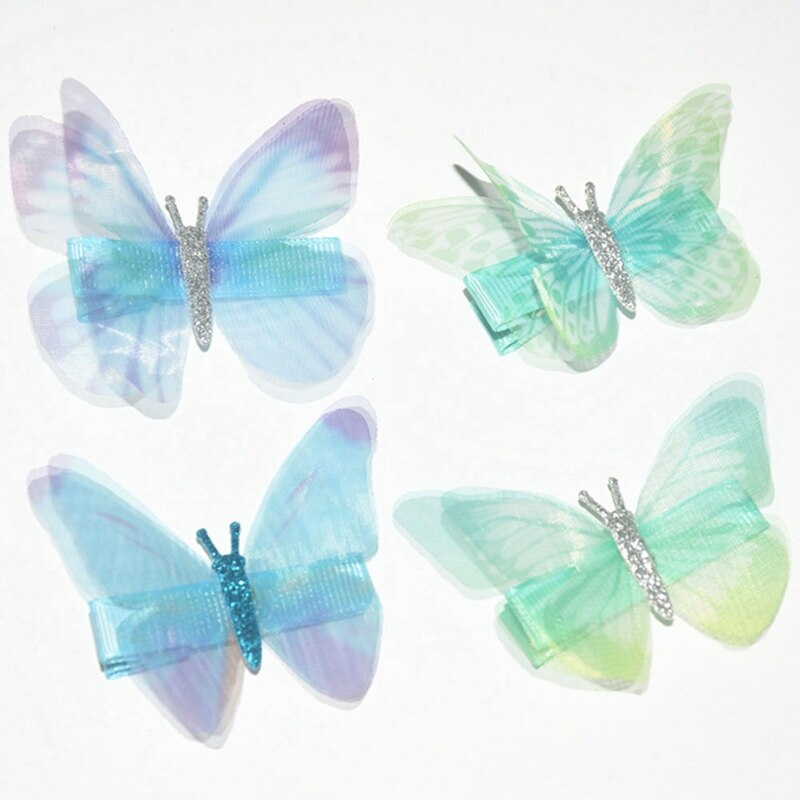 15Pcs Colorful Bow Butterfly Hair Clips Double-layer Simulation Gauze Girl Hair Grips Kids Hairpin Headwear Fashion Accessories