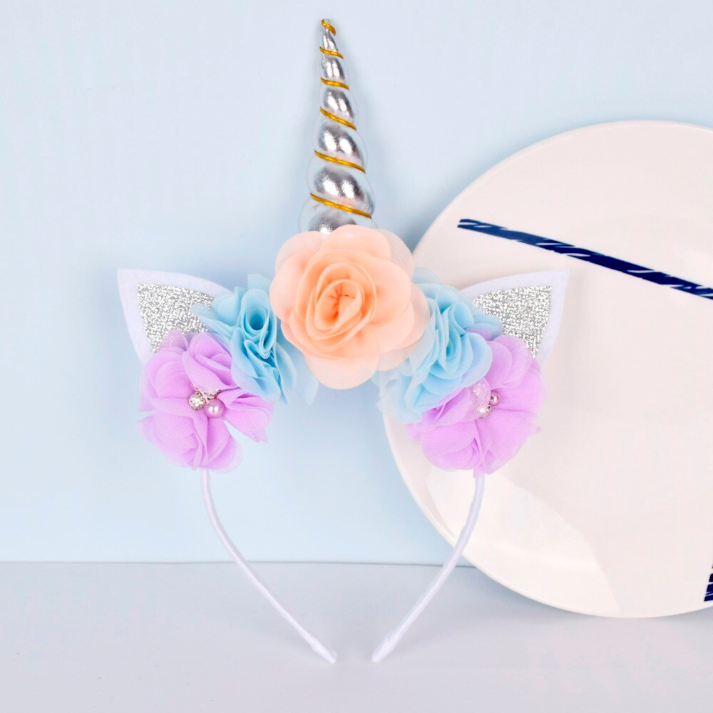 Girls Unicorn Headband Chiffon Flowers Unicorn Horn Hairband Glitter Headband for Kids Unicorn Birthday Party Hair Accessories