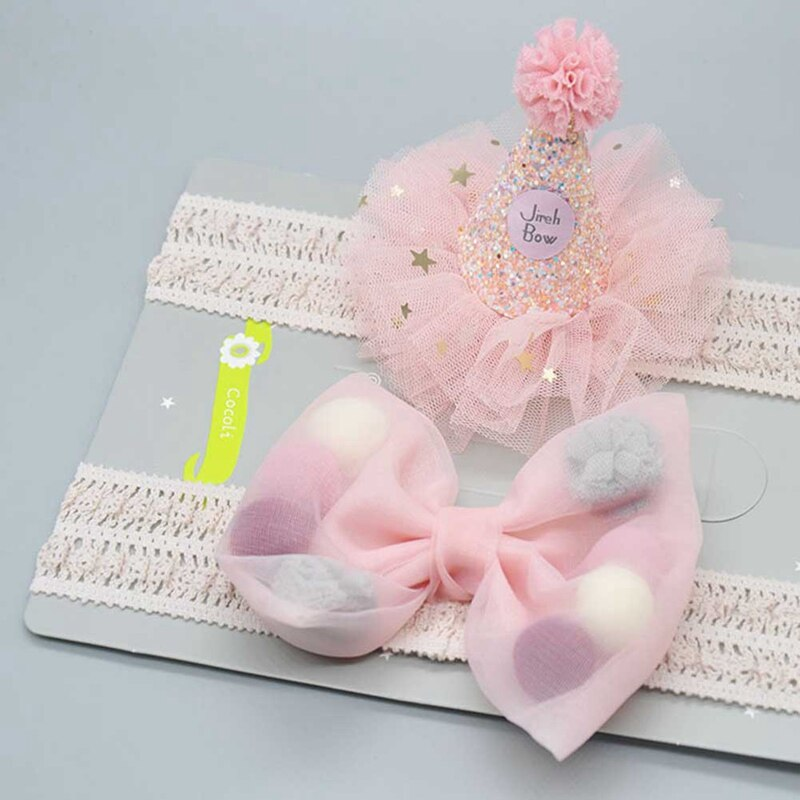 Cute Birthdays Newborn Baby Girl Hair Accessories Headband Baby Kids Bow Flower Crown Soft Elastic Tiara Hair Band Headbands
