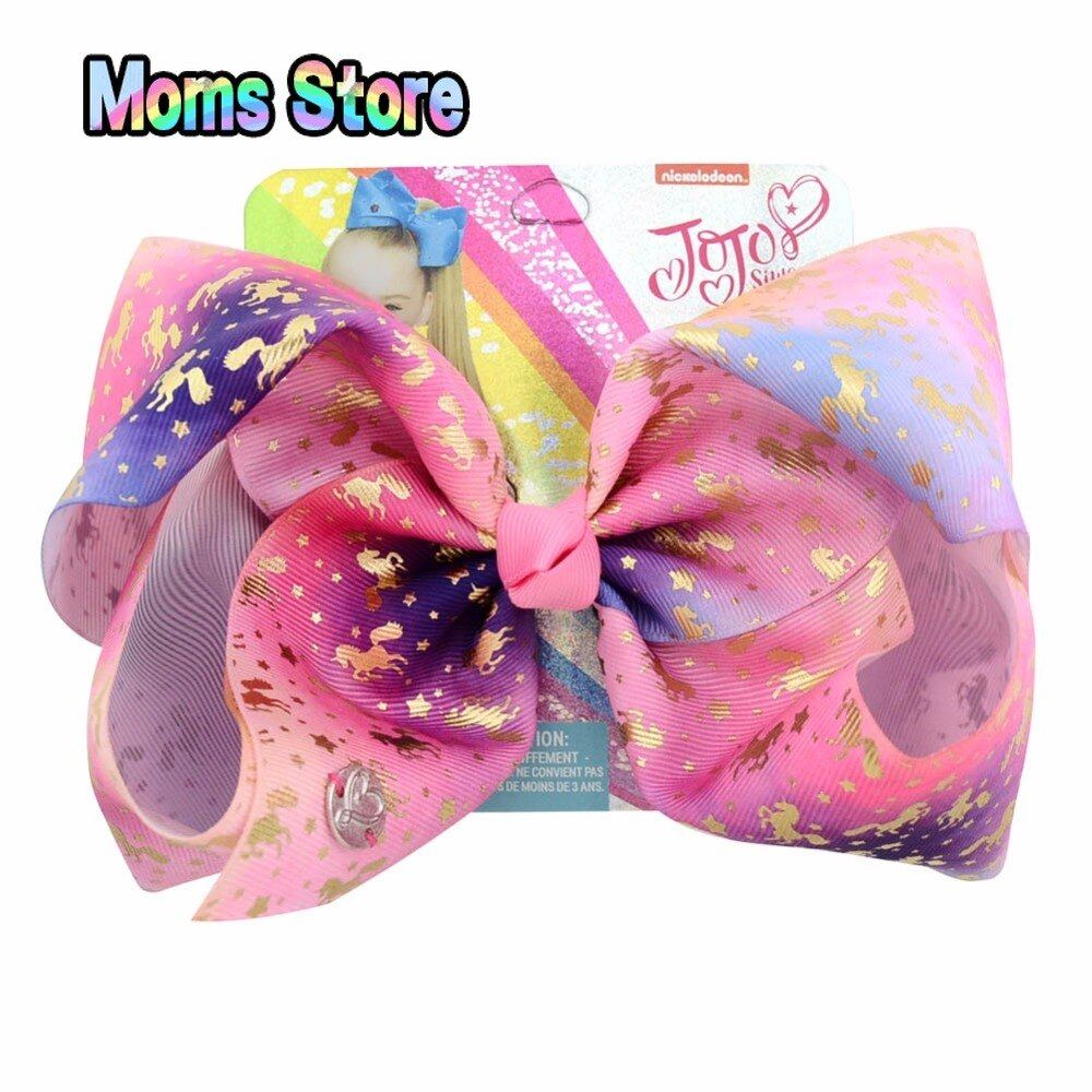 "1piece 8""  Clip Large Rainbow Unicorn Bow-knot Print Grosgrain Ribbon Hair Bows With Clip Kids Handmade Hair Accessory"