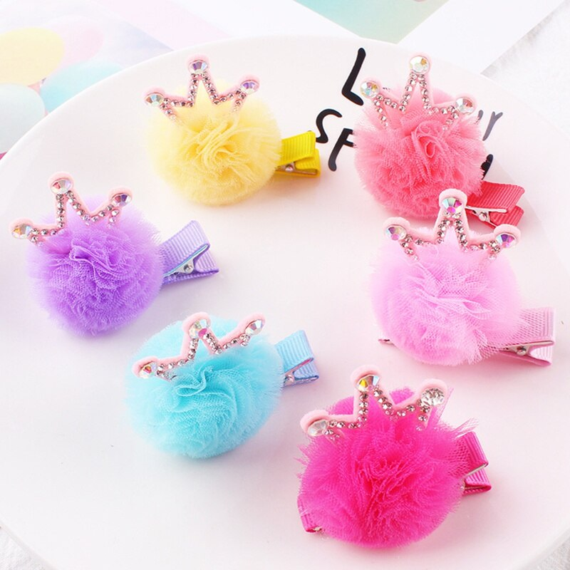 Kids Girls Hair Pins Cute Yarn Lace Ball Headwear Crown Hair Clips Princess Party Photography Barrettes Cute Hair Accessories