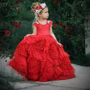 2017 New Puffy Hot Flower Girl Dress for Weddings Red Tulle Ball Gown Girl Party Communion Dress Pageant Gown with Cap Sleeves