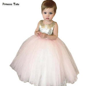 Gold Sequins Tulle Backless Pink Flower Girl Dresses Wedding Pageant Ball Gowns Bow Baby Girl Birthday Party Tutu Dress Custom