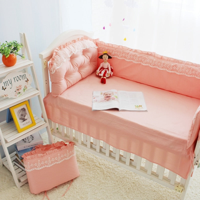 Baby Girls Crib Bedding Set Cotton Baby Bed Linen Crib Bumper For Newborn Princess Lace Baby Bedding Soft Infant Bed Clothes