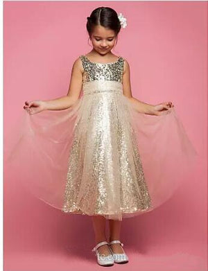 Lovely Princess Tulle Dress Bling Bling Rose Gold Sequins Flower Girls Dresses for Weddings Tea Length Girls Pageant Gowns