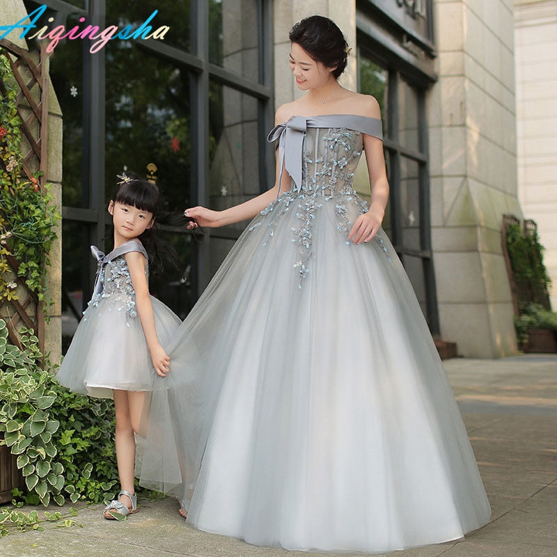 Matching Mother Daughter Clothes Mom and Daughter Wedding Dress Mom and Daughter Ball Gowns Tutu Skirt  Girls Long Maxi Dress