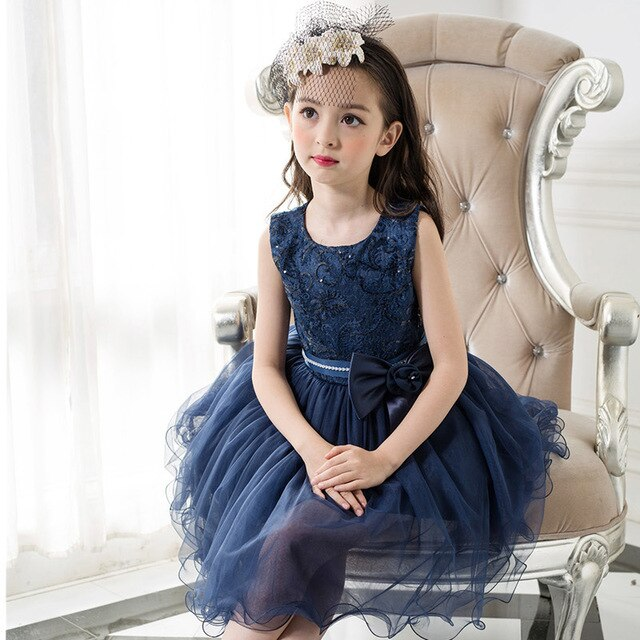 High Quality New Royal Blue Girl Party Dress Fashion Lace Flower Wedding 2017 Dresses Ball Gown Carnival Costume Kids Clothes