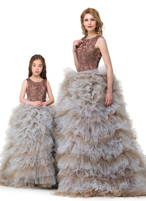 Mother Daughter Wedding Dresses Women Baby Evening Dress Family Clothing Kids Ball Gown Prom Performance Formal Wear Girls Skirt