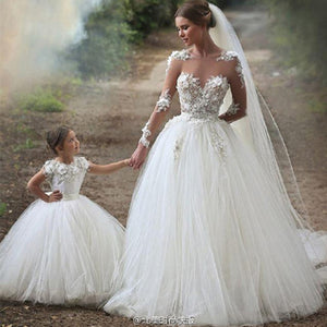 Mommy Baby Mother Daughter Wedding Dresses Flower Party Mama and Girls Bridesmaid Tutu Maxi Long Dress Family Matching Clothes