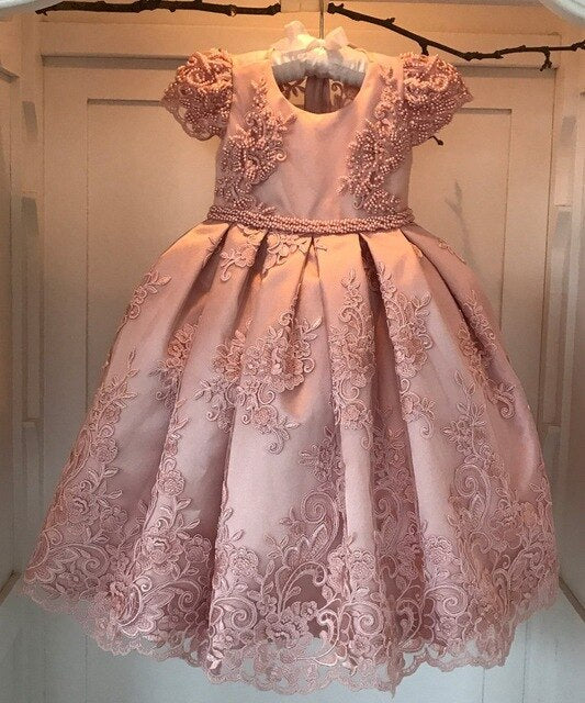 Luxurious Pearls Beaded Pink Flower Girls Dresses Wide Pleated Lace Overlay little Girls Ball Gowns for Wedding 2-12 Years Old