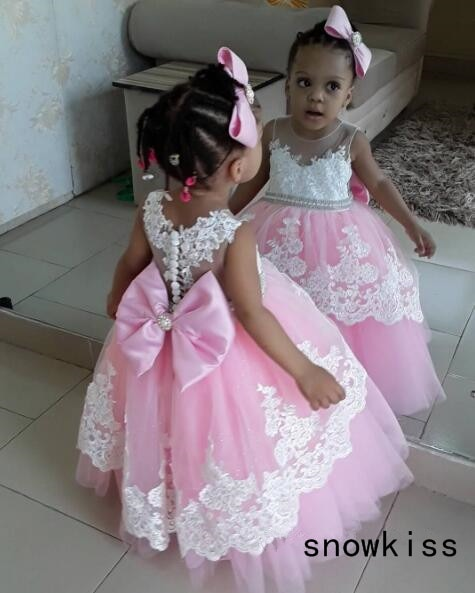 Puffy pink tulle tutu flower girl dress baby kids 1st birthday wedding party ball gowns princess prom with bow laces for evening