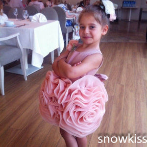 Champagne/pink short ball gowns beautiful flowers satin ruched flower girls dresses nice birthday party gown for wedding
