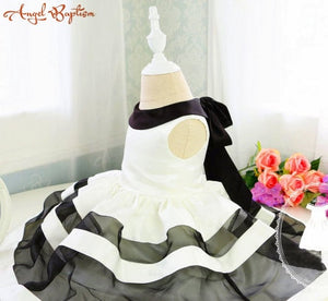 Korean Basic Style Baby Party Dress with Black and White Stripes Toddler Girl 1 year birthday dress Dress Newborn Girl Dress