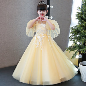 Autumn Winter New High Quality Children Girls Yellow Princess Lace Long Dress Kids Birthday Wedding Party Flare Sleeves Dress