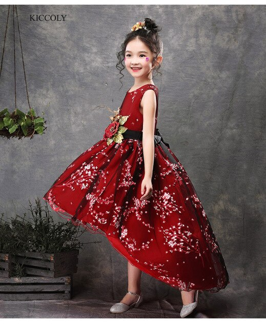 KICCOLY 2018  Kids Flower Girl Dress Embroidered Trailing Dress Party Wedding Bridesmaid Red Ball Gown Prom Princess Dress 4-14T
