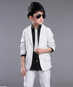 New Kids Blazers Handsome Boy Suit For Weddings Formal Striped Black White Dress Wedding Boy Blazers 2pcs Tops+Pants