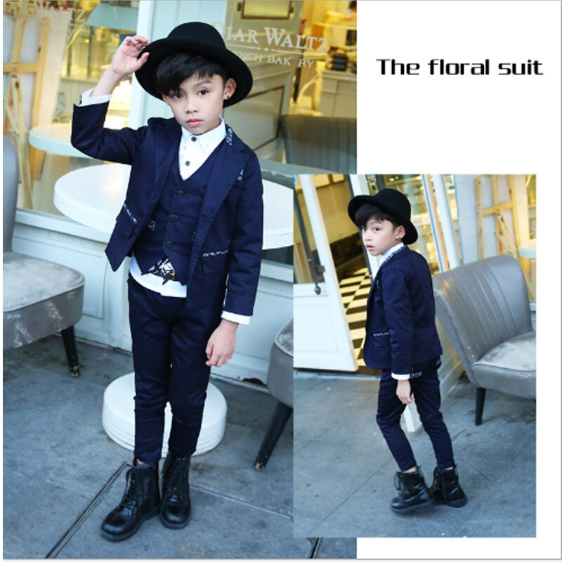 WENDYWU Blue Notched Suits & Blazer Suits  High Quality  New Fashion Baby Boys Kids Blazers Children Suit for Prom Formal 3sb003