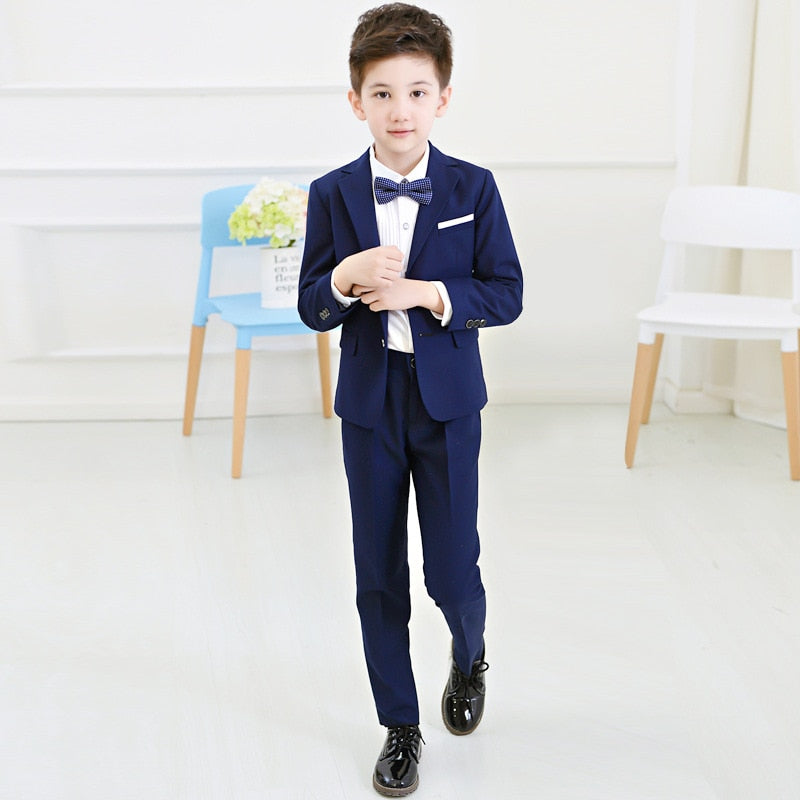 Boys Blazers Suit Kids Boy Suits for Weddings Jacket+Blouse+Tie+Pants 4 pieces/set Children Costume Garcon Marriage Clothes B081