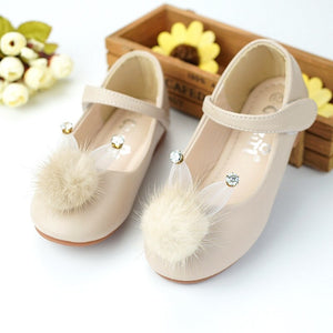 qloblo 2018 New Party Girls Cute Rabbit Leather Shoes Girls Flower Wedding Children Single Student Princess for Baby shoes