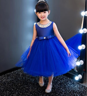 Fashion Formal Newborn Blue Wedding Dress Baby Girl Bow Pattern For Toddler 1 Years Birthday Party Baptism Dress Clothes