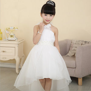 New Summer Dress Flowers Enclose Neck Sleeveless Kids Girl Performance Dress Flower Girl Princess White Wedding Girl Dress