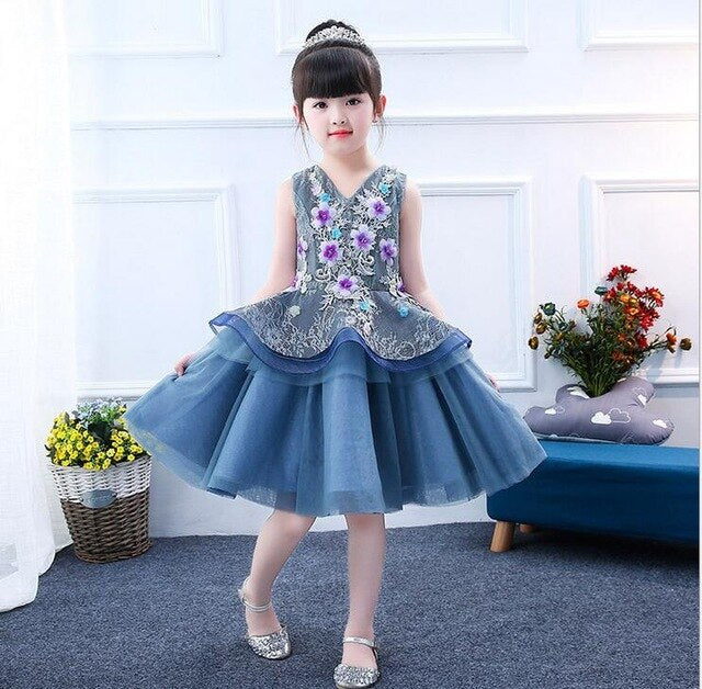 hot 3D Flower Girls Party 2 Layer Dress Embroidered Formal Bridesmaid Wedding Girl Christmas Princess Ball Gown Kids Vestido