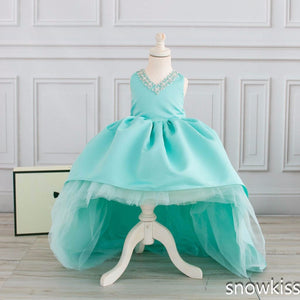 Cute mint high low flower girl dress for wedding with long train crystals ball gown kids 1st birthday party outfits baby dresses