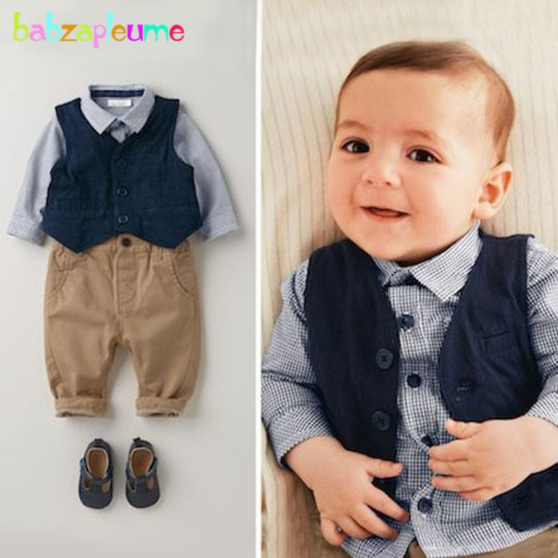 3PCS/0-18Months/Spring Autumn Newborn Clothing Sets Gentleman Infant Suit Blue Plaid T-shirt+Pants+Vest Baby Boys Clothes BC1060