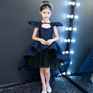 Knee-Length Flower Girl Dresses Lace Sleeveless Ball Gown Kids Wedding Party Dresses Princess Children Formal Costume Luxury D28