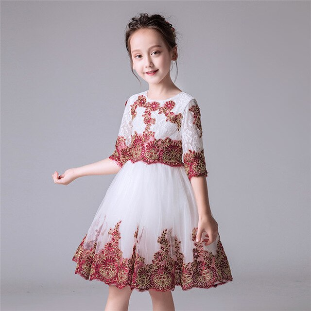 Hot-sales Girl Baby Birthday Wedding Party Princess Lace Flowers Dress Little Kids Ceremony Dress Beauty Christening Gown Dress