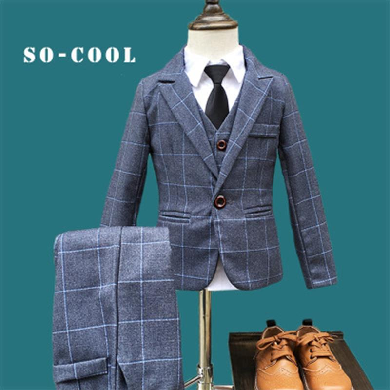 2018 Fashion New 5PCS Kids Lattice Wedding Blazer Suit Brand Flower Boys Formal Tuxedos School Suit Kids Spring Clothing Set