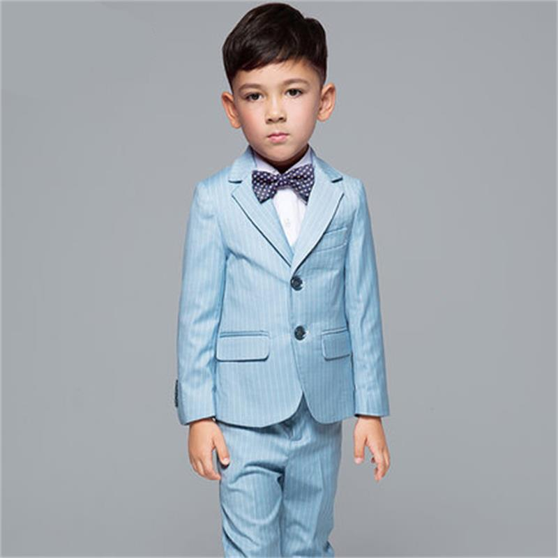2018 Fashion New 5PCS Kids Stripe Wedding Blazer Suit Brand Flower Boys Formal Tuxedos School Suit Kids Spring Clothing Set
