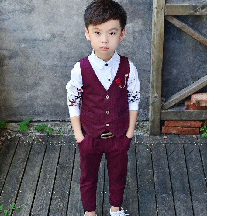 WENDYWU 2018 Brand New 2Pcs Boys Spring Formal Wedding Vest Suits Top Quality Gentle Boys Polka Dot Suit Children Wedding Suits