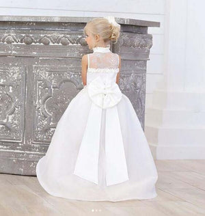 White/ivory lace high low V-neck flower girl dress toddler kids first communion gown for beach wedding and party with bow train