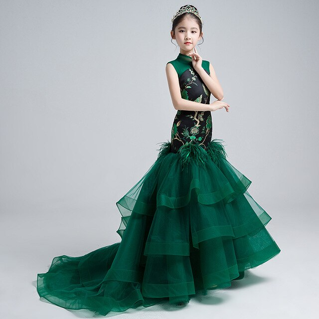 Chinese Style Children Girls Wedding Clothing Mermaid Dress With Trail Emboridery Girl Gowns Custom-made Catwalk Costume S257