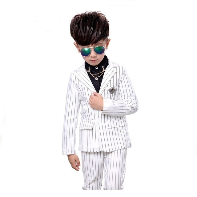 2Pcs Kids boys Strip White Black Formal Wedding Dress Suits Casual Wear Jacket Sets Slim Outfit