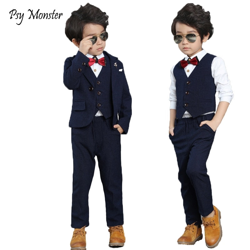 Flower Boys Formal Suit Wedding campus student Performance Dress Gentleman Kids Blazer Vest Pants Bowtie 4Pcs ceremony Costumes